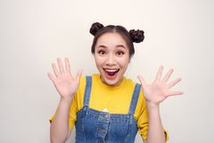 Free Portrait Of Her She Nice Attractive Lovely Charming Cute Crazy Lady Showing Excitement Isolated Over Bright Vivid White Background Royalty Free Stock Image - 165999876