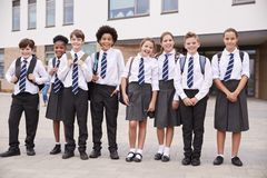 Free Portrait Of High School Student Group Wearing Uniform Standing Outside School Buildings Royalty Free Stock Images - 134207959