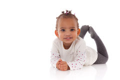 Portrait Of Little African American Little Girl Lying Down On Th Royalty Free Stock Photography