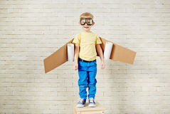 Portrait Of Little Boy Playing In Pilot Royalty Free Stock Images