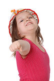 Portrait Of Little Girl Wearing A Hat Ans Smiling Stock Images