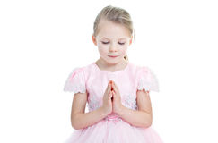 Portrait Of Little Praying Girl Royalty Free Stock Photos