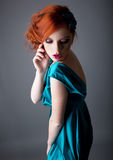Portrait Of Lovely Red Head Girl With Freckle Royalty Free Stock Photography