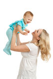 Portrait Of Loving Mother And Her Child On White Royalty Free Stock Image