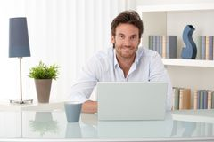 Free Portrait Of Man At Home With Computer Stock Photos - 20750893