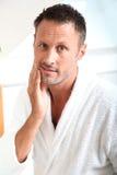 Portrait Of Man Shaving Stock Images