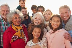 Free Portrait Of Multi-Generation Family Group On Winter Beach Vacation Royalty Free Stock Images - 175164409