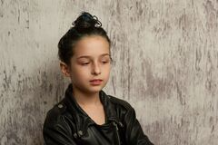 Free Portrait Of Nine Year Old Girl. Teenager With Blue Strands On Her Hair. A Series Of Photos Of A Girl Of 8 Or 9 Years Old Royalty Free Stock Images - 172512519