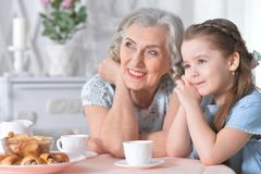 Free Portrait Of Old Woman With A Young Girl Drinking Tea At Home Royalty Free Stock Photography - 136441387
