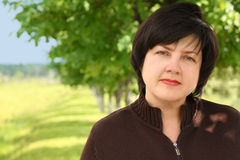 Portrait Of Plumpy Adult Brunette Woman Stock Photography