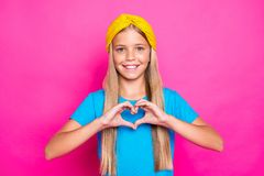 Free Portrait Of Positive Cheerful Funky Child Make Heart From Her Fingers Show Affection Passion Feeling Love To Her Mother Stock Images - 159589714
