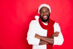 Free Portrait Of Positive Funny Brown Hair Afro American Man Cross His Hand Ready To Celebrate Newyear Christmas Time Wear Stock Image - 160534931