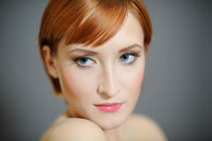 Portrait Of Pretty Woman With Pure Healthy Skin Stock Photography