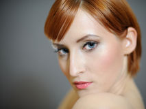 Portrait Of Pretty Woman With Pure Healthy Skin Stock Photo