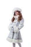 Portrait Of Proud Little Snow Queen Stock Photos