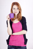 Portrait Of Red-haired Girl With Cup. Stock Images