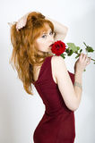 Portrait Of Retro Woman With A Rose Stock Photo