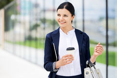 Free Portrait Of Self Confidence Business Woman With Coffee To Go Stock Photos - 98478343