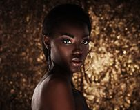 Free Portrait Of Sensual Young African Woman Against Golden Background Royalty Free Stock Photography - 105675437