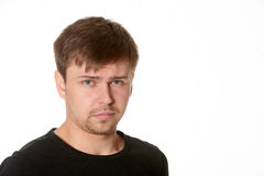 Portrait Of Serious Young Man, Questioning Expression,horizontal On White Background With Space For Text Stock Images