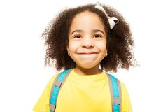 Portrait Of Small African Girl In Yellow T-shirt Stock Image