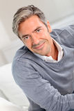 Portrait Of Smiling Mature Man With Grey Hair Royalty Free Stock Images