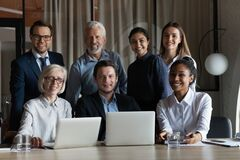 Free Portrait Of Smiling Multiethnic Employees Working On Computers Stock Photography - 213920052