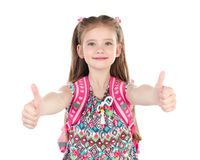 Free Portrait Of Smiling Schoolgirl With Two Fingers Up Royalty Free Stock Photography - 72396037