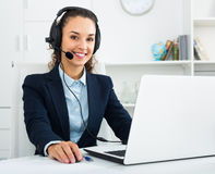 Free Portrait Of Smiling Woman Working In Call Center Stock Photos - 90960433