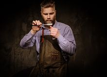 Free Portrait Of Stylish Barber With Beard And Professional Tools On A Dark Background. Stock Photo - 69023290