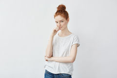 Free Portrait Of Tender Redhead Girl Smiling Looking At Camera. Stock Images - 92103274