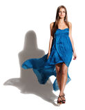 Portrait Of The Beautiful Girl In Long Blue Dress Stock Photography