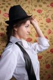 Portrait Of The Beautiful Stylish Brunette Girl Stock Image