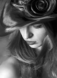 Portrait Of The Girl In A Hat. Black And White Royalty Free Stock Images