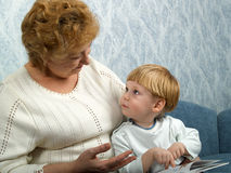 Portrait Of The Grandmother With The Grandson Stock Photos