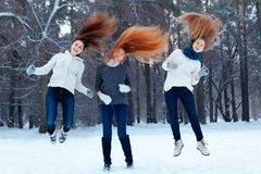 Portrait Of Three Beautiful Girls In Winter Park Royalty Free Stock Images