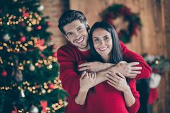 Free Portrait Of Two Romantic Lovely People Hug Near Christmas Tree In The Morning Enjoying Christmas Vacation In House With Royalty Free Stock Photo - 159598015