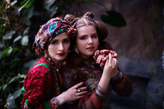 Free Portrait Of Woman And Girl In Ethnic Clothes In Tropical Garden Royalty Free Stock Photo - 92557355