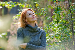 Portrait Of Woman In Nature Stock Image