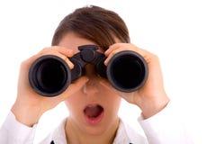 Portrait Of Woman Looking Through Binocular Stock Images