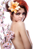Portrait Of Woman With Cherry Flowers On White Royalty Free Stock Photos