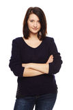 Portrait Of Woman With Folded Hands Stock Photo