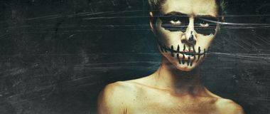 Free Portrait Of Woman With Halloween Skull Make Up With Space For Text. Horror Spooky Skeleton Visage Concept. Toned Image With Film Royalty Free Stock Images - 162276239