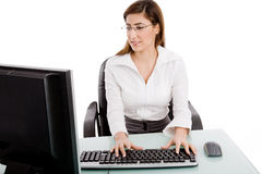 Portrait Of Woman Working On Computer Royalty Free Stock Image