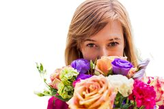 Free Portrait Of Young Attractive Woman Holding Boquet Of Flowers Stock Photos - 182935973