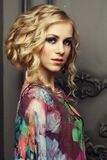 Portrait Of Young Beautiful Blond Lady Wearing Romantic Dress Stock Image