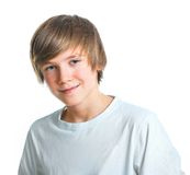 Portrait Of Young Beautiful Boy In White Stock Photo