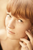 Portrait Of Young Beautiful Red-haired Woman Royalty Free Stock Images