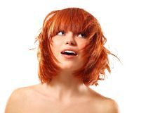 Free Portrait Of Young Beautiful Redheaded Woman Looking Up Into The Royalty Free Stock Photography - 112473337