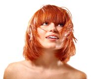 Free Portrait Of Young Beautiful Redheaded Woman Looking Up Into The Royalty Free Stock Photos - 112473438